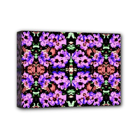 Purple Green Flowers With Green Mini Canvas 7  X 5