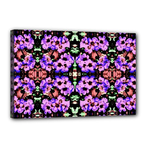 Purple Green Flowers With Green Canvas 18  X 12  by Costasonlineshop