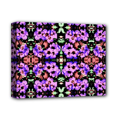 Purple Green Flowers With Green Deluxe Canvas 14  X 11  by Costasonlineshop