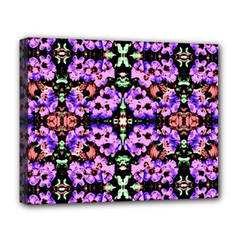 Purple Green Flowers With Green Deluxe Canvas 20  X 16   by Costasonlineshop