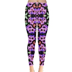 Purple Green Flowers With Green Women s Leggings by Costasonlineshop