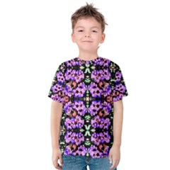 Purple Green Flowers With Green Kid s Cotton Tee by Costasonlineshop