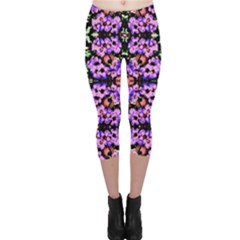 Purple Green Flowers With Green Capri Leggings by Costasonlineshop