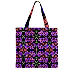 Purple Green Flowers With Green Zipper Grocery Tote Bags by Costasonlineshop