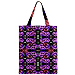Purple Green Flowers With Green Zipper Classic Tote Bags