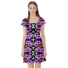 Purple Green Flowers With Green Short Sleeve Skater Dresses by Costasonlineshop