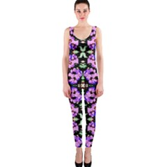 Purple Green Flowers With Green Onepiece Catsuits by Costasonlineshop