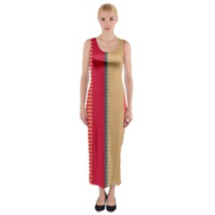 Stripes and other shapes Fitted Maxi Dress