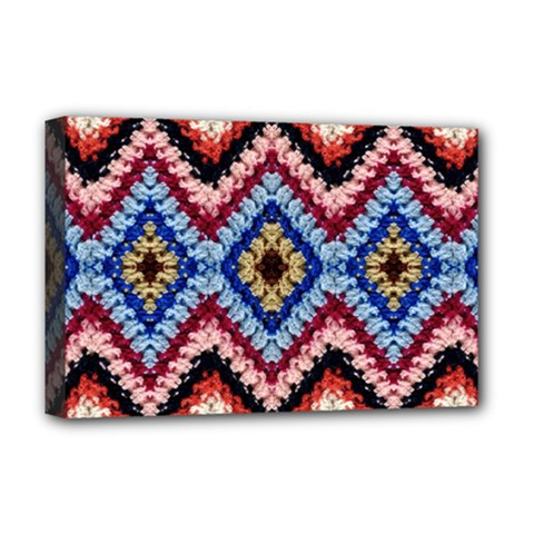 Colorful Diamond Crochet Deluxe Canvas 18  X 12   by Costasonlineshop