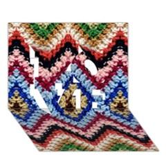 Colorful Diamond Crochet Love 3d Greeting Card (7x5)  by Costasonlineshop