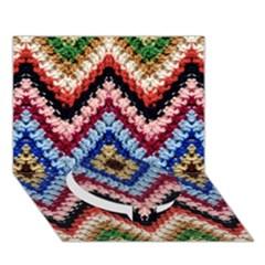 Colorful Diamond Crochet Circle Bottom 3d Greeting Card (7x5)  by Costasonlineshop