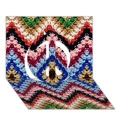 Colorful Diamond Crochet Peace Sign 3d Greeting Card (7x5)  by Costasonlineshop