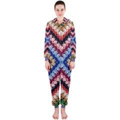 Colorful Diamond Crochet Hooded Jumpsuit (ladies)