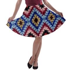 Colorful Diamond Crochet A Line Skater Skirt