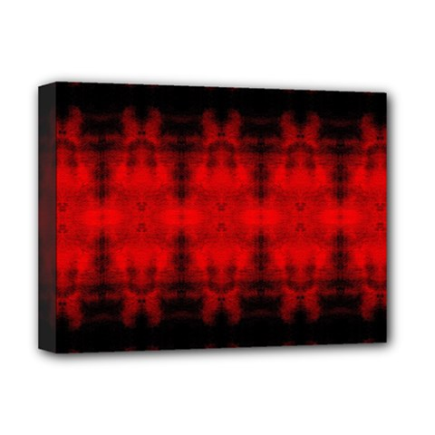 Red Black Gothic Pattern Deluxe Canvas 16  X 12   by Costasonlineshop