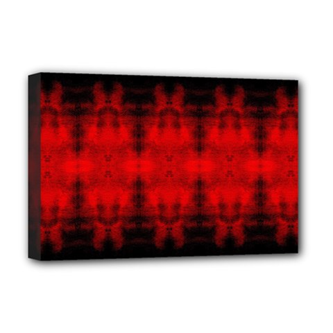 Red Black Gothic Pattern Deluxe Canvas 18  X 12   by Costasonlineshop