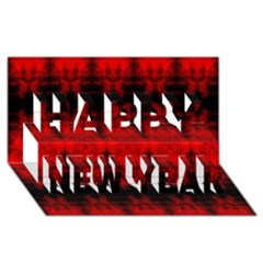 Red Black Gothic Pattern Happy New Year 3d Greeting Card (8x4)