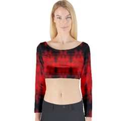 Red Black Gothic Pattern Long Sleeve Crop Top by Costasonlineshop