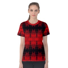 Red Black Gothic Pattern Women s Cotton Tee by Costasonlineshop