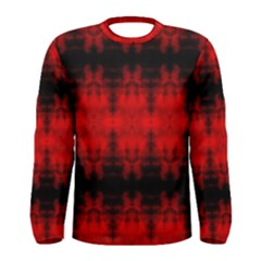 Red Black Gothic Pattern Men s Long Sleeve T Shirts by Costasonlineshop