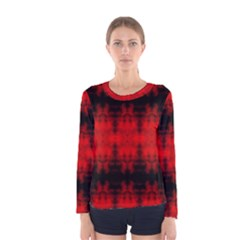 Red Black Gothic Pattern Women s Long Sleeve T Shirts by Costasonlineshop
