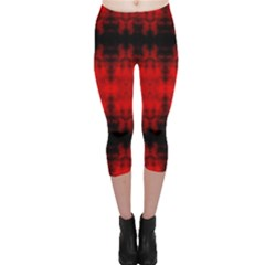 Red Black Gothic Pattern Capri Leggings by Costasonlineshop
