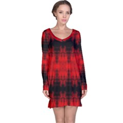 Red Black Gothic Pattern Long Sleeve Nightdresses by Costasonlineshop