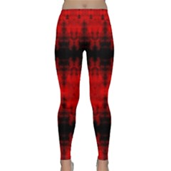 Red Black Gothic Pattern Yoga Leggings by Costasonlineshop