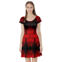Red Black Gothic Pattern Short Sleeve Skater Dresses by Costasonlineshop