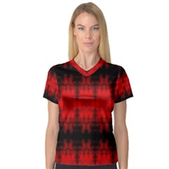 Red Black Gothic Pattern Women s V Neck Sport Mesh Tee by Costasonlineshop