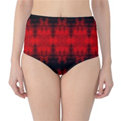 Red Black Gothic Pattern High Waist Bikini Bottoms by Costasonlineshop