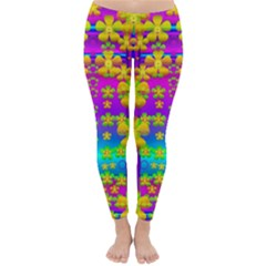 Outside The Curtain It Is Peace Florals And Love Winter Leggings  by pepitasart