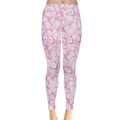 Officially Sexy Baby Pink & White Cracked Pattern Leggings  by OfficiallySexy