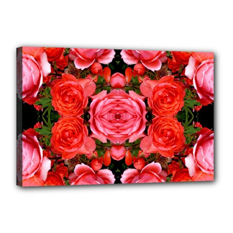 Beautiful Red Roses Canvas 18  X 12  by Costasonlineshop