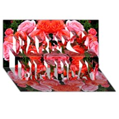 Beautiful Red Roses Happy Birthday 3d Greeting Card (8x4)  by Costasonlineshop