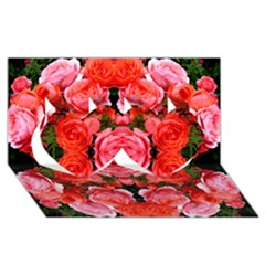 Beautiful Red Roses Twin Hearts 3d Greeting Card (8x4)  by Costasonlineshop