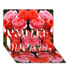 Beautiful Red Roses You Are Invited 3d Greeting Card (7x5)  by Costasonlineshop