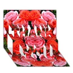 Beautiful Red Roses Thank You 3d Greeting Card (7x5)