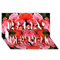 Beautiful Red Roses Happy New Year 3D Greeting Card (8x4)  by Costasonlineshop
