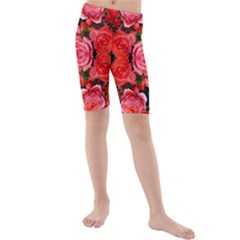 Beautiful Red Roses Kid s Mid Length Swim Shorts by Costasonlineshop