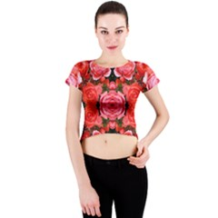 Beautiful Red Roses Crew Neck Crop Top by Costasonlineshop