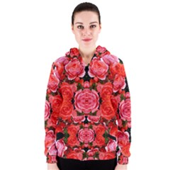 Beautiful Red Roses Women s Zipper Hoodies by Costasonlineshop