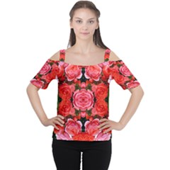 Beautiful Red Roses Women s Cutout Shoulder Tee by Costasonlineshop