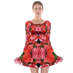 Beautiful Red Roses Long Sleeve Skater Dress by Costasonlineshop