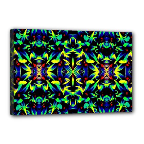 Cool Green Blue Yellow Design Canvas 18  X 12  by Costasonlineshop