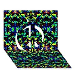 Cool Green Blue Yellow Design Peace Sign 3d Greeting Card (7x5)  by Costasonlineshop