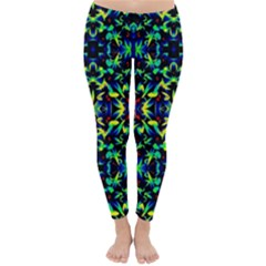 Cool Green Blue Yellow Design Winter Leggings  by Costasonlineshop