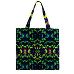 Cool Green Blue Yellow Design Zipper Grocery Tote Bags by Costasonlineshop