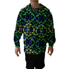 Cool Green Blue Yellow Design Hooded Wind Breaker (kids)
