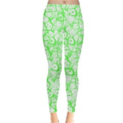 Officially Sexy Neon Green & White Cracked Pattern Leggings by OfficiallySexy